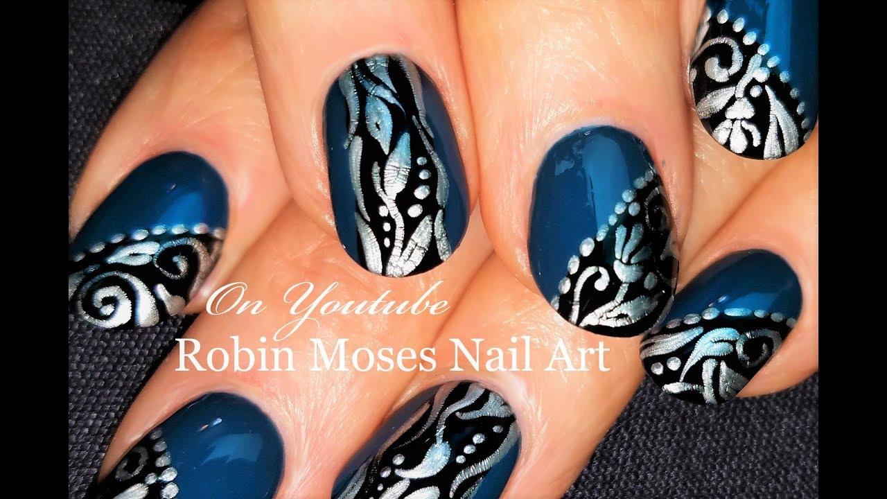 Silver And Black Filigree On Teal Nails Diy Nail Art Design Tutorial Youtube