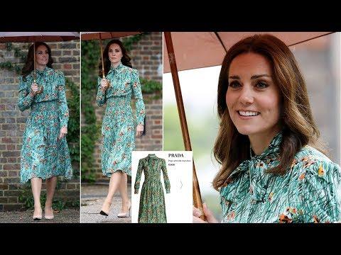 Kate wears � Prada pussybow dress to Diana memorial garden