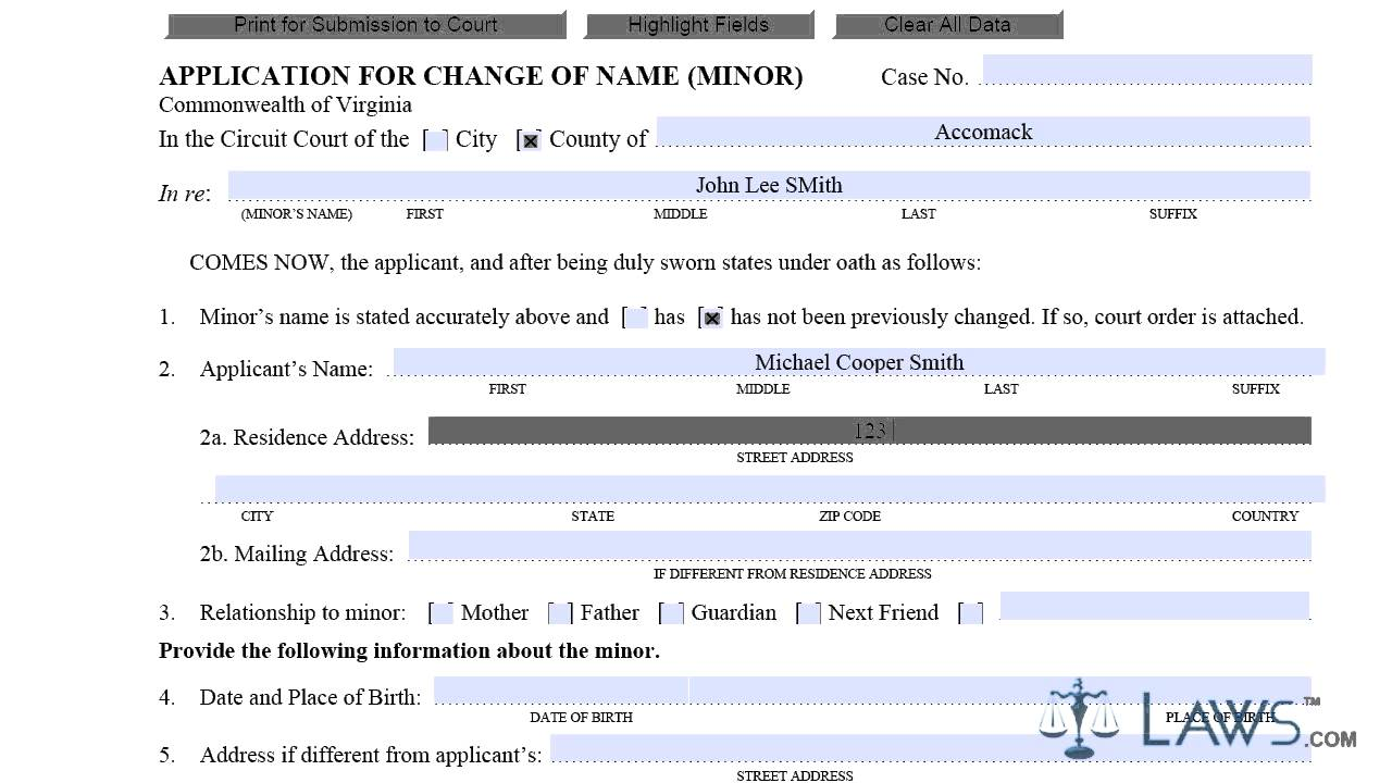 Application for Change of Name Minor CC-1427 - YouTube