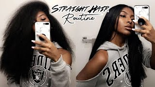 Curly To Straight Hair Tutorial | TRIMMING & NO FRIZZY ENDS!