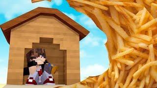 Minecraft: DESAFIO DA BASE 100 % SEGURA CONTRA TSUNAMI DE BATATA FRITA ‹ JUAUM ›