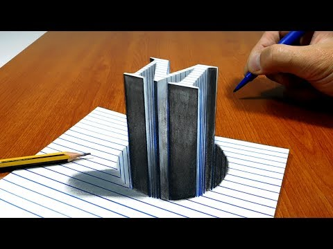 3D Trick Art on Line Paper Letter M Stick in the Hole