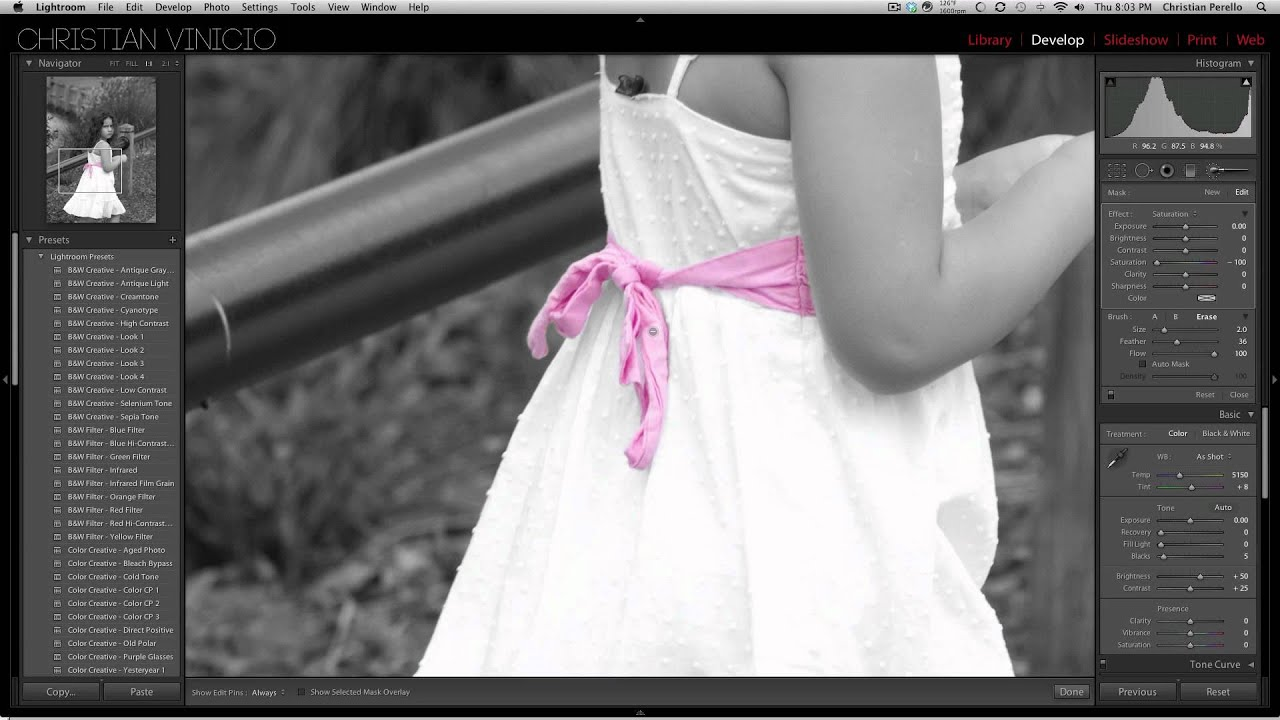Black and white with color in adobe lightroom 4 and adobe photoshop cs5
