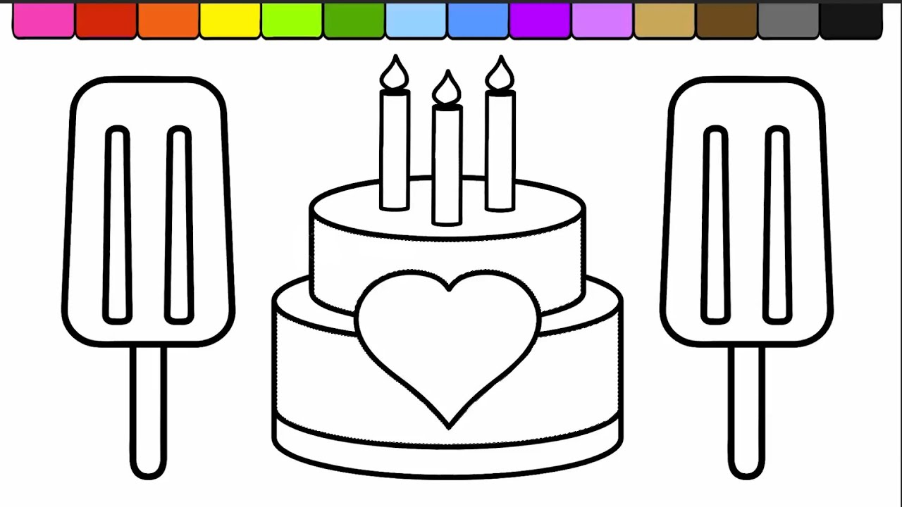 Coloring pages for learning colors - Learn Colors For Kids And Color This Ice Cream Popsicle And Cake Coloring Page