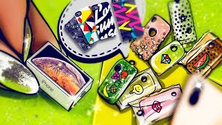 DIY - 7 Mini Silicone Cases and Miniature Apple iPhone XS Max | DollHouse | No Polymer Clay!