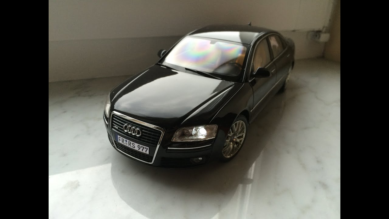 audi a8 4 2 tdi kyosho 1 18 with led lights diecast model. Black Bedroom Furniture Sets. Home Design Ideas