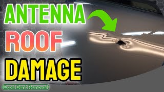 Paintless Dent Repair - Car Roof Damage From Antenna