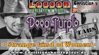 How to Play Deep Purple STRANGE KIND OF WOMEN Introlick Tabs E Gitarre lernen Tutorial [HD] Deutsch