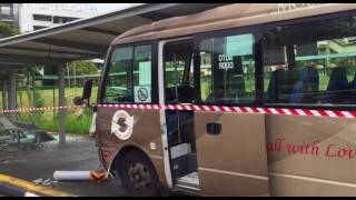 Shuttle Bus Crashes Into A Bus Stop Along Braddell Road