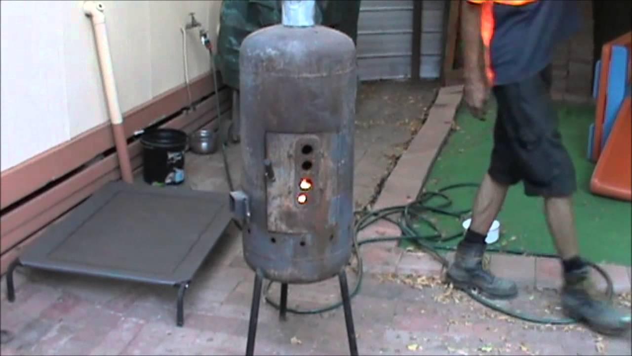 Converted Lpg Tank Wood Heater Youtube