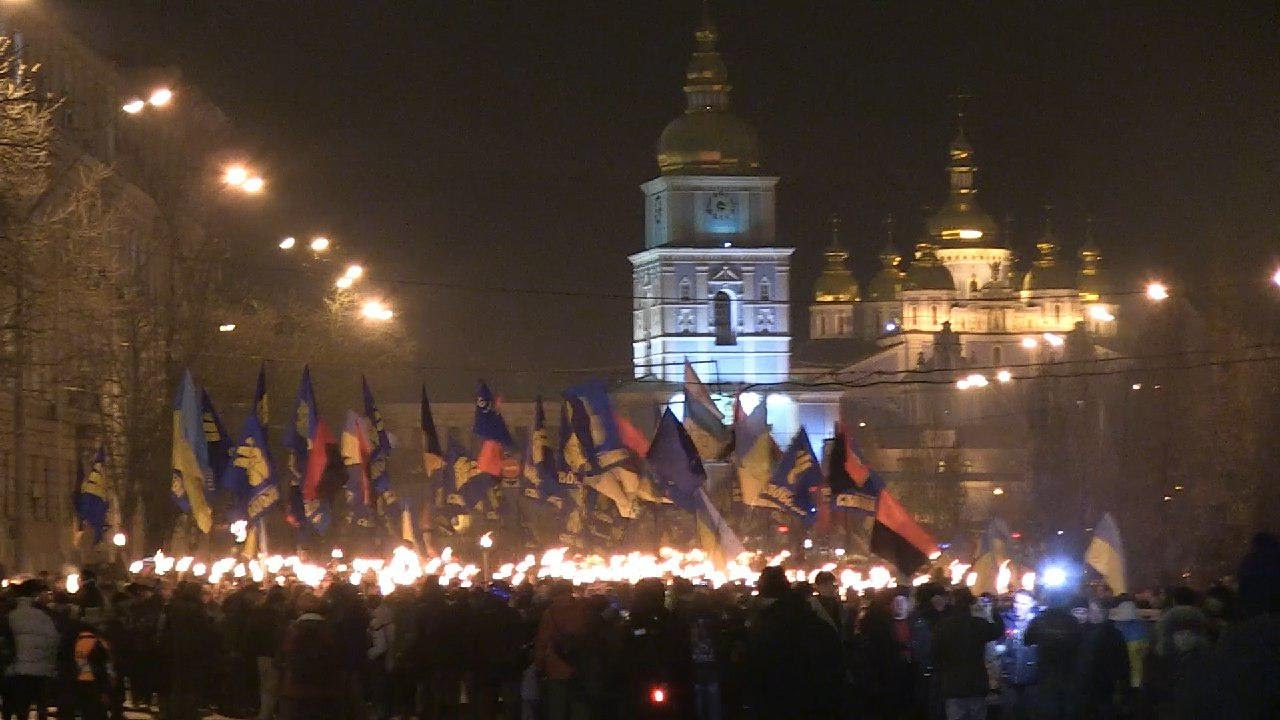 Факельное шествие ко дню рождения Степана Бандеры