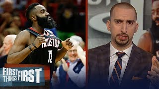 Nick Wright reacts to James Harden dropping 50 on LeBron's Lakers   NBA   FIRST THINGS FIRST