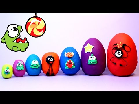 Thumbnail: Smallest to Biggest Learn Sizes Cut the Rope OM NOM Play Doh Eggs Opening