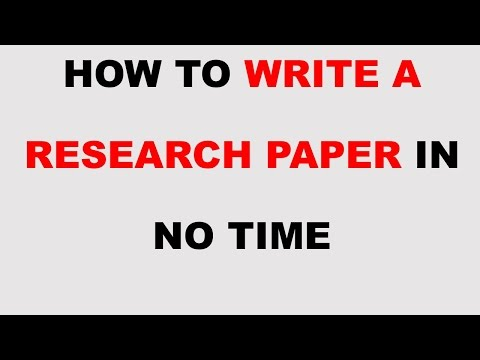 How To Write a Research Paper in No Time