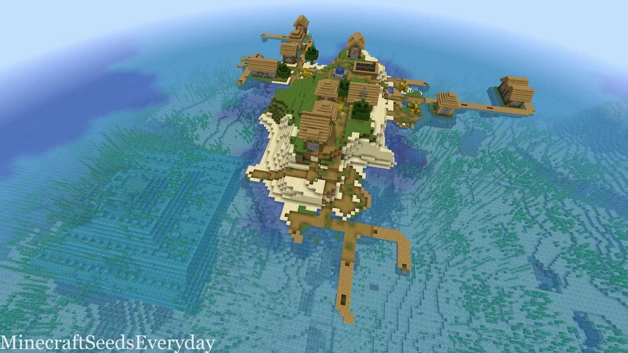 Minecraft 1111.111111.1111 Seed 11: Island village near ocean monument [JAVA]