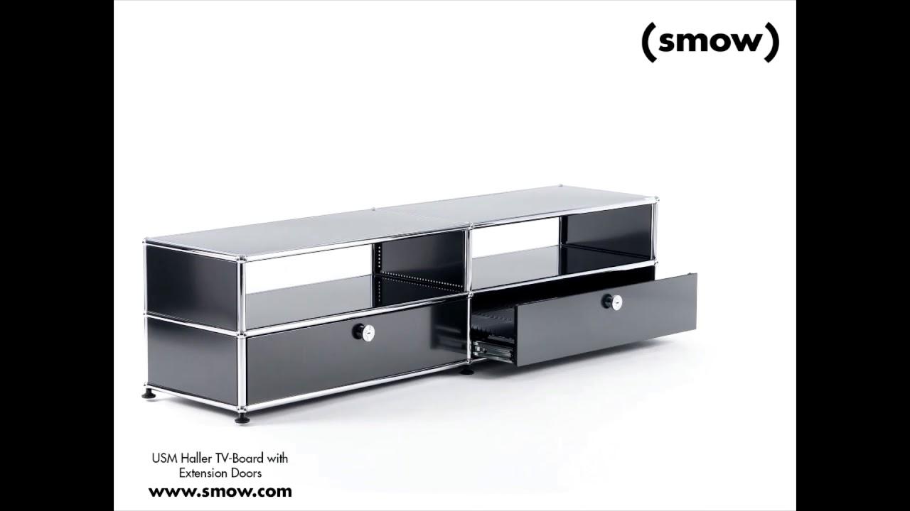Tv Meubel 9010.Usm Haller Tv Board With Extension Doors Graphite Black Ral 9011