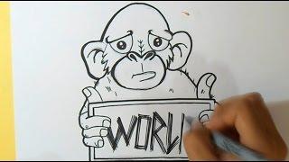 como desenhar macaco grafite | wizard art - by Wörld