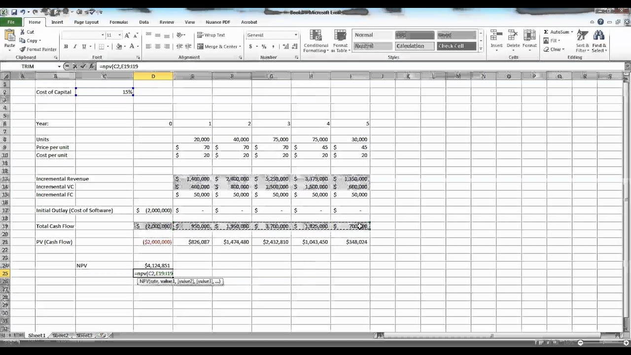 Capital Budgeting In Excel Example