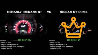 Renault Megane GT vs. Nissan GT-R R35 - the 0-100 km/h duel. Which ...