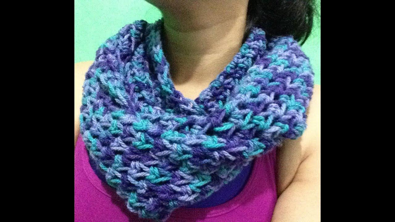 Bufanda infinita ideal para principiantes a crochet youtube - Como hacer punto de lana para principiantes ...