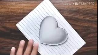 3D Heart on Paper ..... Trick ART Drawing....