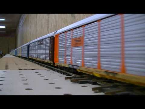 Model Railroad Train Scenery -Very Long HO scale intermodal train