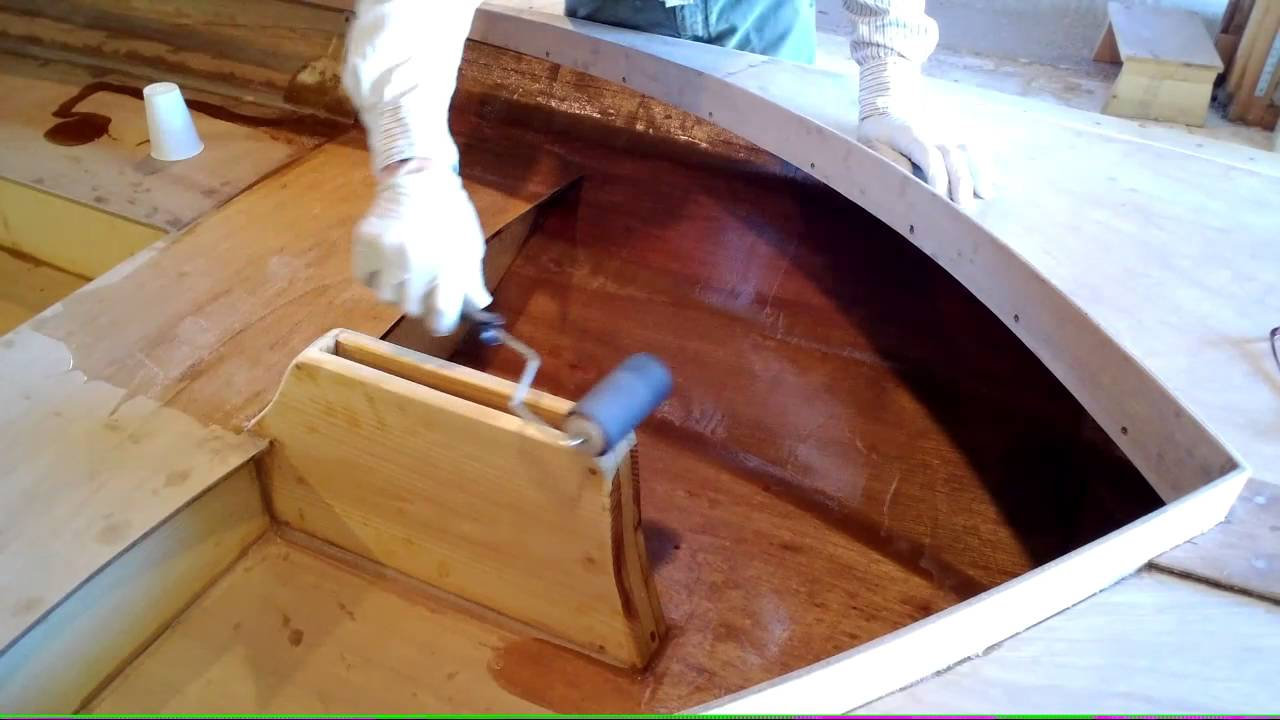 Applying an epoxy coating to a wooden boat  YouTube