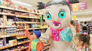 Kids pretend doing shopping in real life with Big Baby Doll in supermarket Funny video