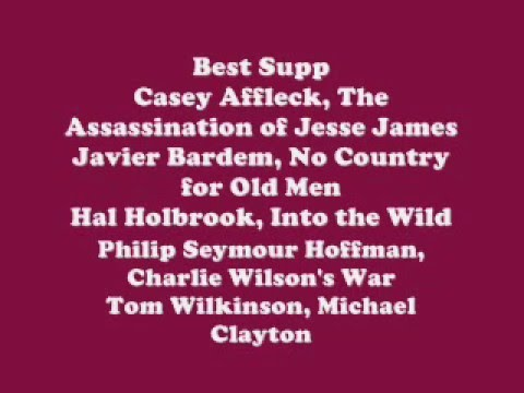 80th Annual Oscar Nominations 2008 Academy Awards Nominees