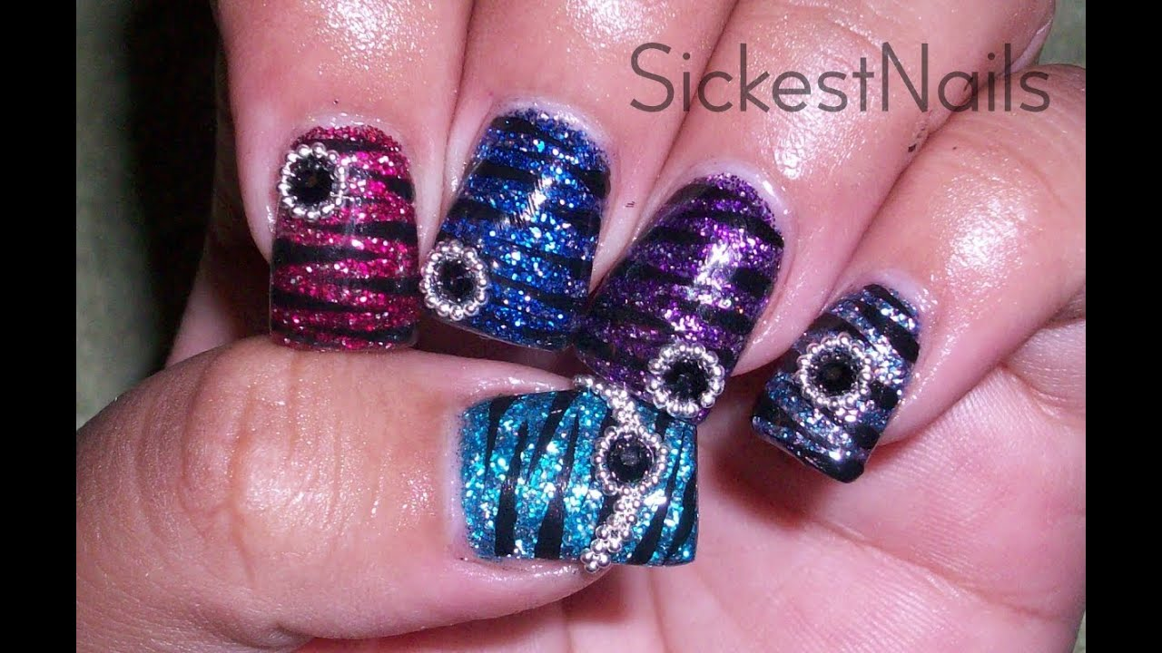 acrylic nail design-colorful zebra
