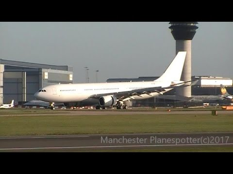 Hongkong Jet Airbus A330-202 VP-CBE Landing + Taxing At (MAN) Manchester Airport On 22/04/2017