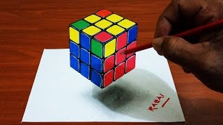 Tuto 2 : How to Draw Rubik's Cube Trick Art 3D illusion on paper | Dessin 3D