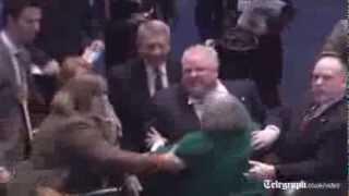 Toronto mayor Rob Ford knocks down city councillor during debate