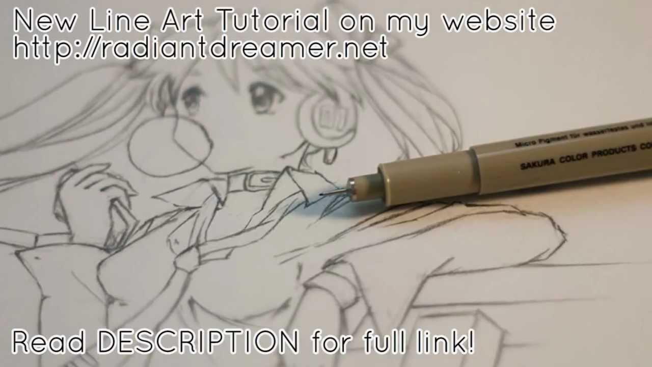Line Drawing Net : How to draw manga line art tutorial youtube