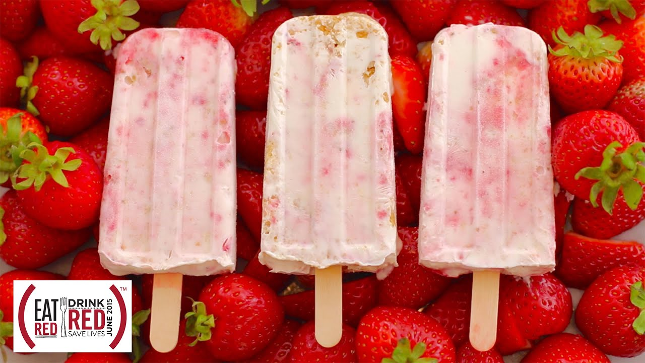 Gemma's (RED) Strawberry Cheesecake Popsicles: EAT (RED) DRINK (RED) SAVE LIVES #86AIDS