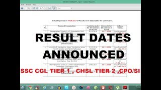 RESULT DATE ANNOUNCED || SSC CGL 2017(TIER 1)/CHSL 2016(DESCRIPTIVE PAPER) SI/CPO PAPER 1..