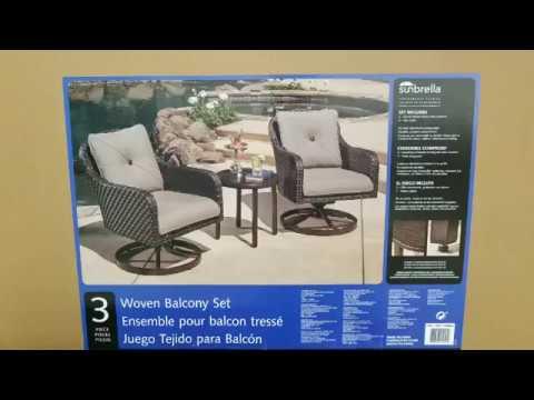 Costco! Sunvilla Alacantra 3 Piece Swivel Chairs Woven Balcony Set!  $439!!!
