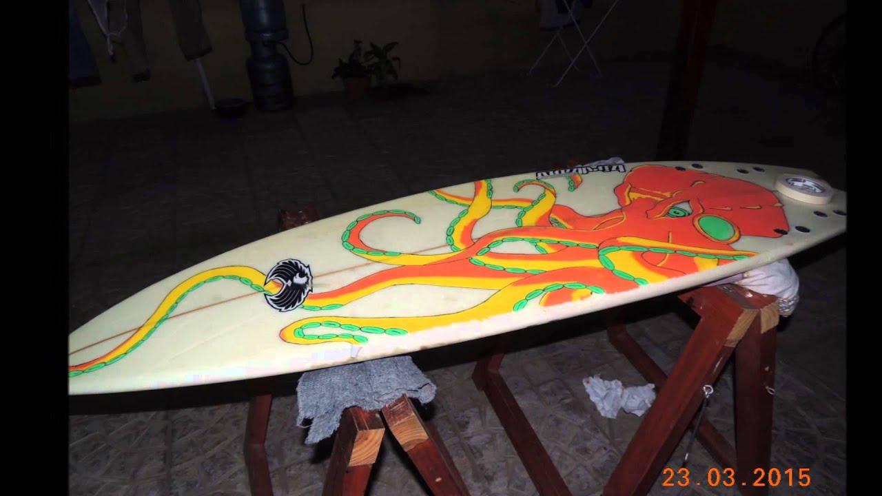 Pintando tabla de surf fibrones posca youtube - Tablas de surf decorativas ...
