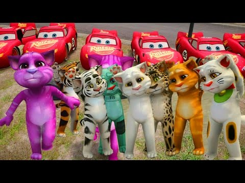 Tom Cat And Lightning McQueen Cartoons For Kids - Nursery Rhymes Song Collection