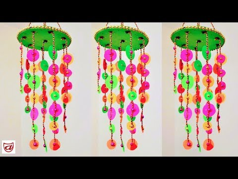 How to make ceiling Wind Chimes -Chandelier making using colour paper