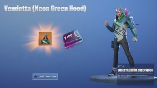 *UNLOCKING* Tier 100 (NEON GREEN HOOD) For VENDETTA After Finding NEW Fortnite Fortbyte Today