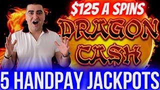 Download $125 A Spins & 5 HANDPAY JACKPOTS On Dragon Cash Slot | Winning Big Money In Las Vegas Casinos