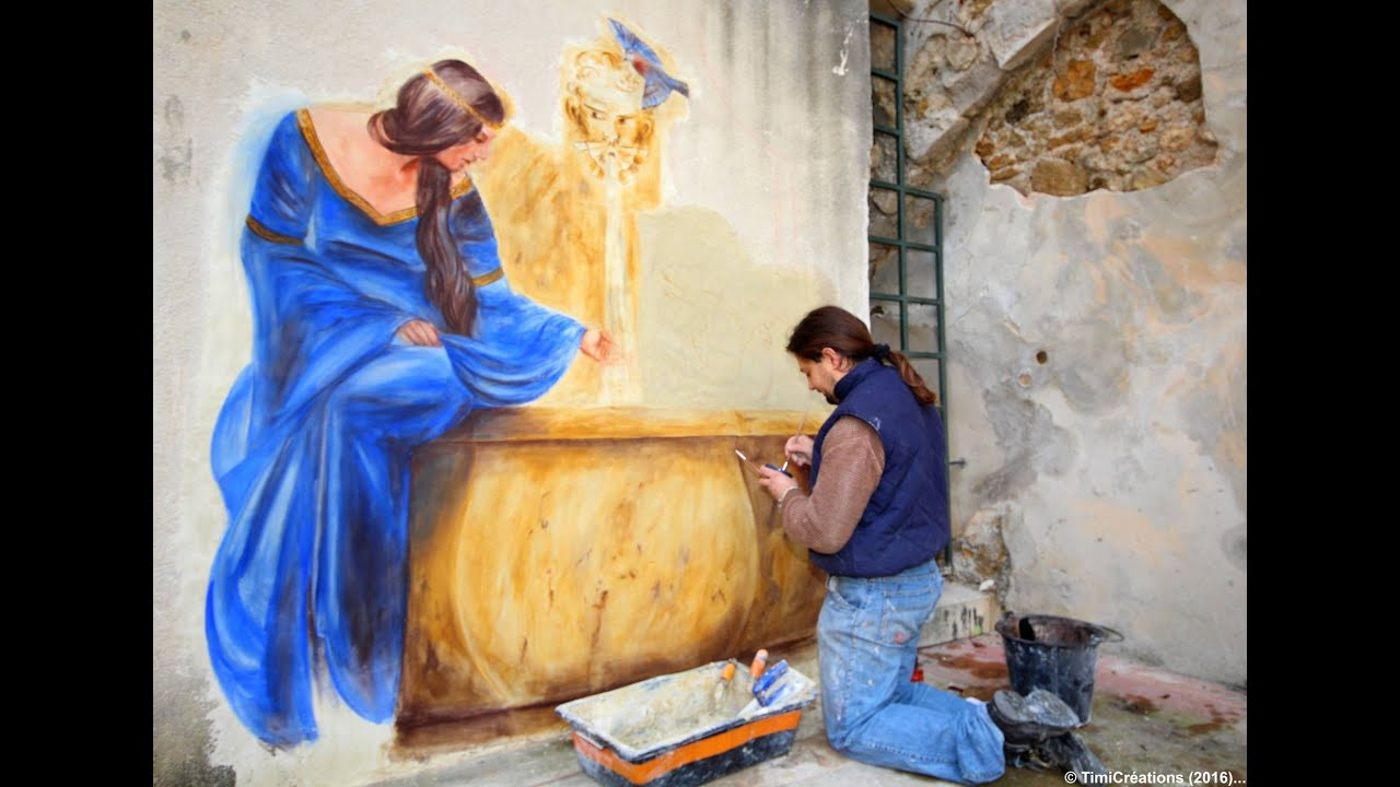 technique de fresque trompe l 39 oeil dame la fontaine