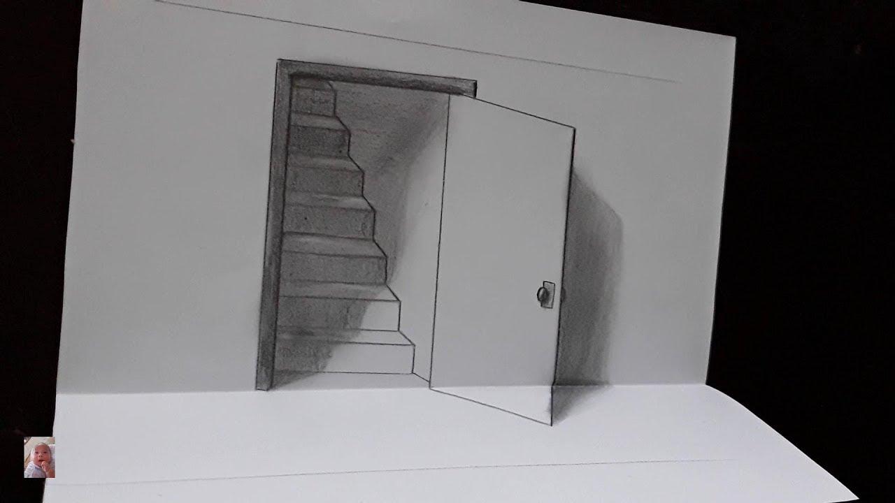Vẽ 3D, vẽ cánh cửa 3D ảo tưởng thị giác – 3D rendering, 3D door visual illusion.