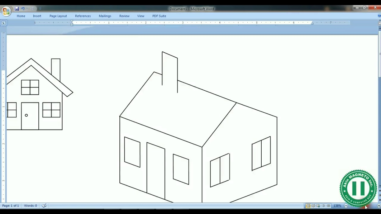 using microsoft word to draw 3d object isometric designs