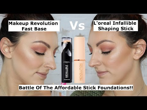 Makeup Revolution fast base Vs L'oreal infallible shaping sticks | Affordable Stick Foundation wars!