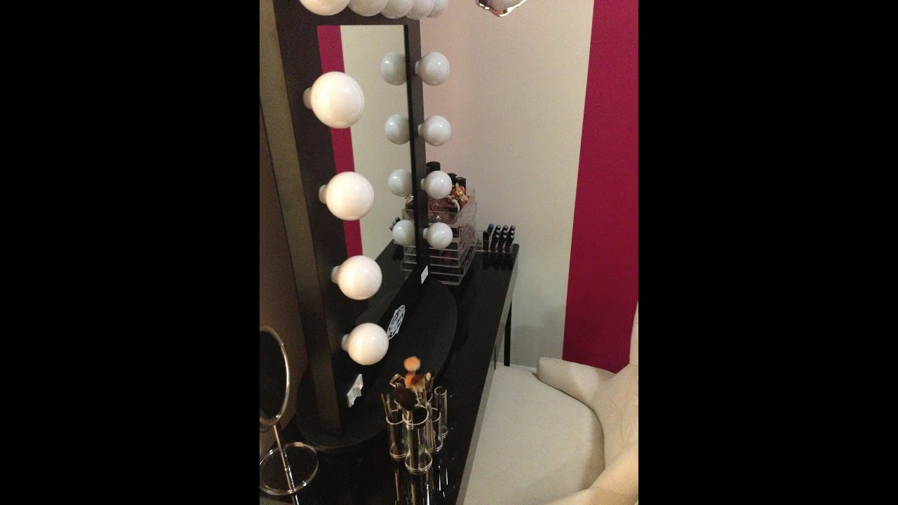 Hollywood Vanity Girl Broadway Mirror (GIFT FROM HUBBY) UNFINISHED MAKEUP/OFFICE - YouTube