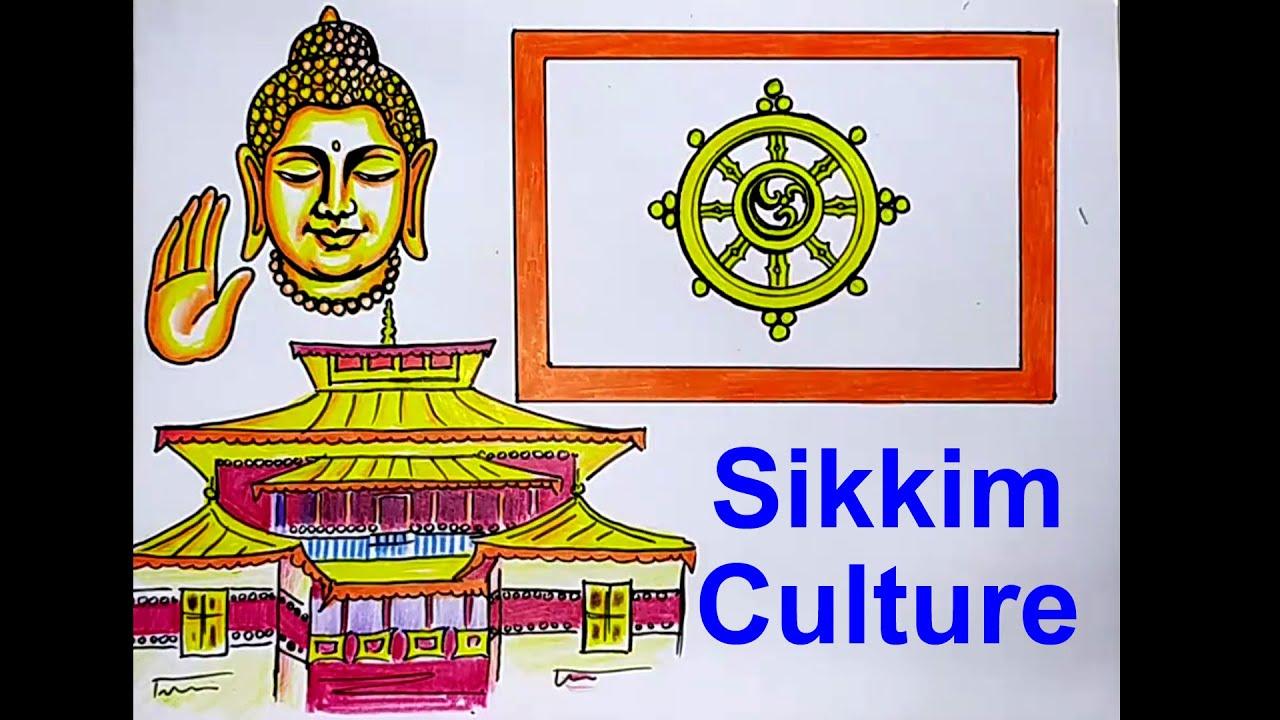 Sikkim drawing / Sikkim Culture Drawing / Lord Buddha Drawing / Guru Rinpoche /Sikkim poster Drawing