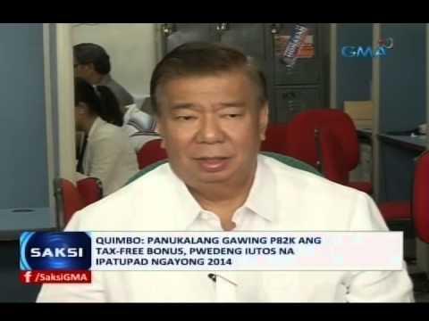 Saksi: Panukalang gawing P82k ang tax-free bonus, pwedeng iutos na ipatupad ngayong 2014