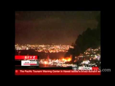 Japan earthquake sparks huge oil refinery fire